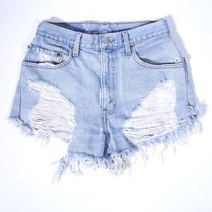 Levi's High Rise Distressed Denim Jean Shorts 28